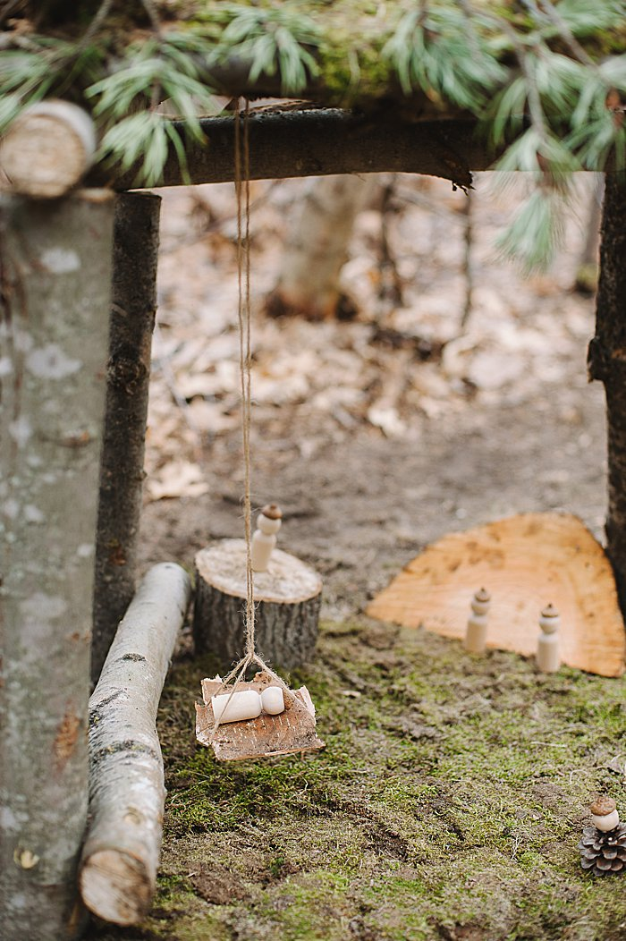 birch bark hammock for acorn peg dolls