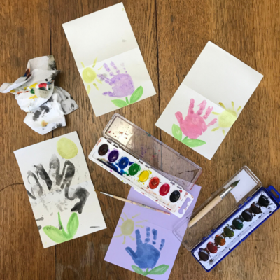 Easy Handprint Flower Cards for Kids