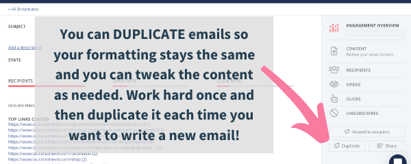 email list broadcast duplication, convertkit broadcast