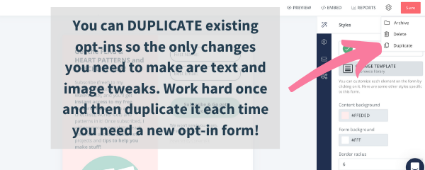 opt-in email marketing services with convertkit, lets you duplicate your marketing opt-in so the hard work is already done for you