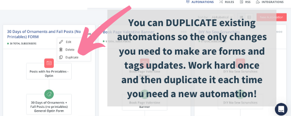 email marketing automation strategy with convertkit, they let you duplicate existing automations to save time and effort